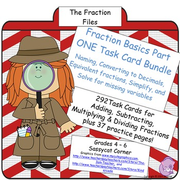 Fractions Task Card Bundle - Simplify, Find Equivalents, Decimals, and more