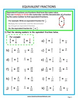 Fractions-Find Missing Number in Equivalent Fractions Grades 5-6 (5th-6th Grade)