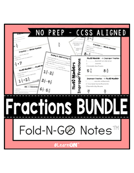 Fractions Fold-N-Go Notes™ BUNDLE ~ Interactive Notebooks