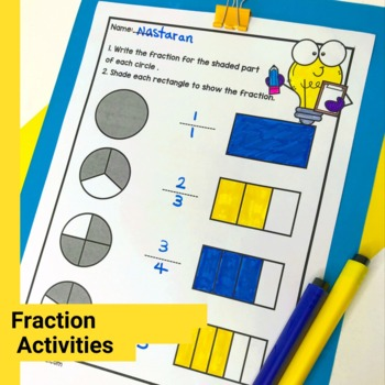 3rd Grade Fractions Worksheets-Equivalent Fractions,Fractions on the number line