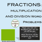 Multiplication and Division of Fractions Word Problems Task Card Activities