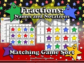 Fractions: Fraction Names and Notations Matching Game Sort - King Virtue