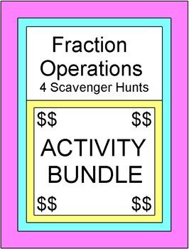 Fractions - Fraction Operations (4 Scavenger Hunts/Circuits) Bundle