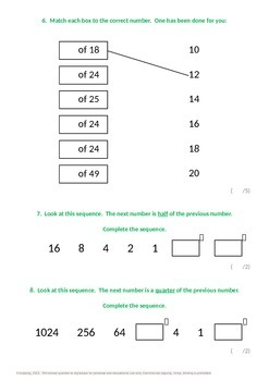 Fractions:  Fraction problems including finding fractions of amounts