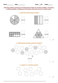 Fractions:  Fraction problems including finding fractions