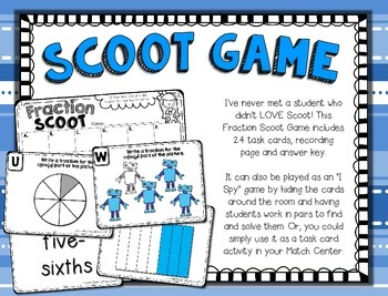 Fractions --- Fractions Clip Cards Math Center --- Fractions SCOOT