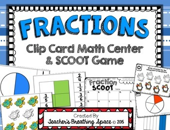 Fractions --- Fractions Clip Cards Math Center --- Fractio