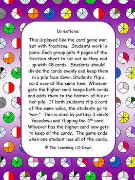 Fractions: Fractions War with Like Denominators