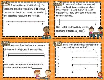 3.3B Fractions & Fractions on a Number Line Computation Task Cards STAAR