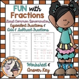 Least Common Denominator Equivalent and Add Subtract Fractions Worksheet