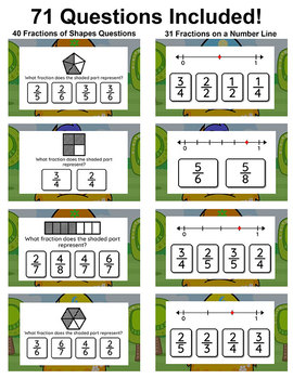 Fractions Game - Fractions of Shapes & Fractions on a Number Line Digital Game