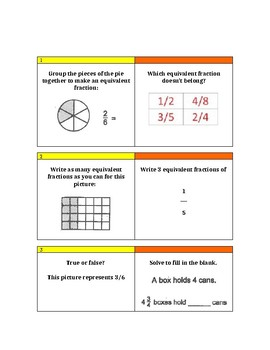 Fractions Game - Math Scoot