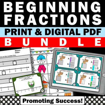 Fractions on a Number Line Worksheets & Task Cards BUNDLE, Fraction Activities