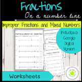 Fractions Greater Than 1 on a Number Line Worksheets