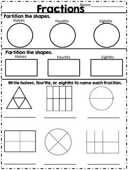 Fractions Halves Fourths & Eighths