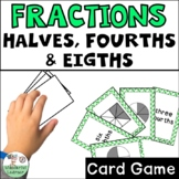 Fractions Halves, Fourths, Eights Go Fish Math Review Game TEKS 2.3A
