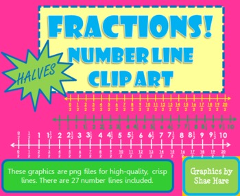 Fractions *Halves* Number Line Clip Art Common Core Math Work Station Center