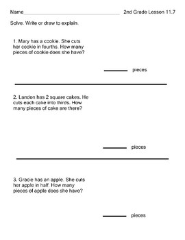 Fractions Equal Parts Go Math 2nd Grade Lesson 11.8