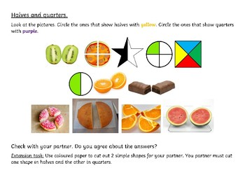 Fractions - Halves and Quarters. Differentiated Worksheet for Grade 1.