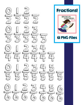 Fractions!  Hand-drawn shadow/cartoon fraction clip art (61PNG Files)
