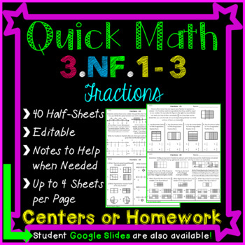 Fractions Homework or Fractions Math Centers for 3rd Grade