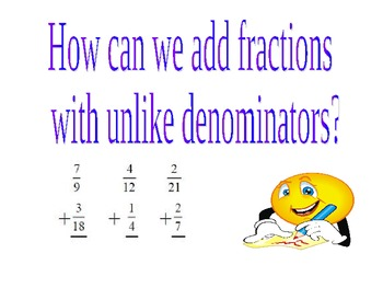 Fractions:  How can we add fractions with unlike denominators.