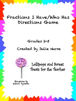Fractions I Have Who, Who Has Directions Game