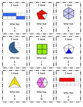 Fractions Game- I Have...Who Has?