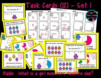 Identifying Fractions Task Cards with Monster Theme Riddle