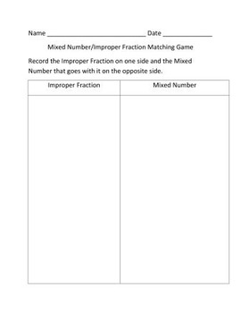 Fractions - Improper Fraction/Mixed Number Matching Game