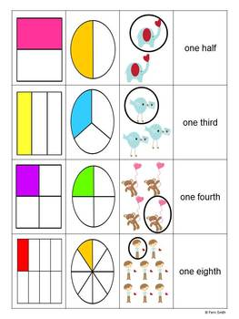 St Valentine's Day Introduction to Fractions Center Games