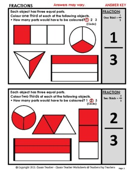 Fractions - Colour the Fraction of Each Shape -Grades 2-4 (2nd-4th Grade) - Easy