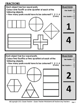 Fractions - Colour the Fraction of Each Shape -Grades 2-3 (2nd-3rd Grade) - Easy