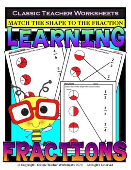 Fractions-Draw a Line From the Shape to the Fraction -Grades 2-4 (2nd-4th Grade)