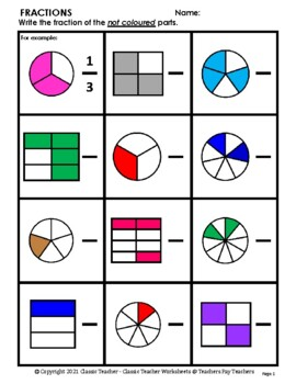 Fractions - Introduction to Fractions - Set #2- Grades 2-4 (2nd-4th Grade)