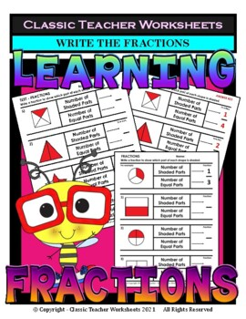 Fractions - Write the Fraction to Match the Shape - Grades