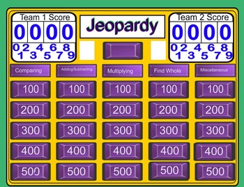 Fractions Jeopardy 5th Grade Review
