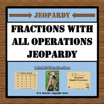 Fractions Jeopardy (Add, Subtract, Multiply, Divide with Unit Fractions)