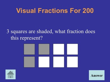 Fractions Jeopardy for 2nd and 3rd Grade