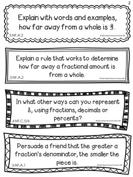 Fractions Math Journal Response Prompts - Common Core Aligned 3-5