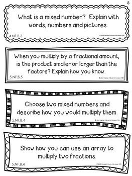 Fractions Math Journal Prompts 5th Grade