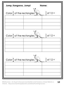 Fraction Book Jump Kangaroo Jump Worksheets