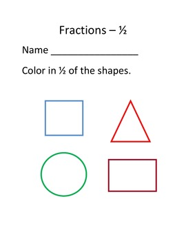 Fractions – Learning 1/2 of the Whole