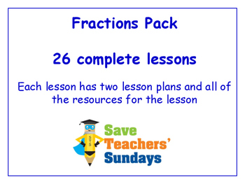 Fractions Lessons Bundle / Pack (26 Lessons for 2nd to 4th grade)