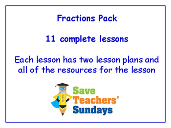 Fractions Lessons Bundle / Pack (11 Lessons for 1st to 2nd grade)