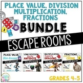 Fractions, Long Division, Multiplication, Place Value Escape Room BUNDLE