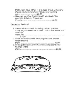 Fractions Lunch Menu