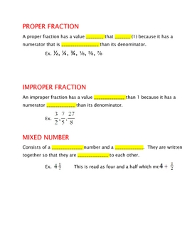 Fractions MATH - Let's talk Fractions and KEY