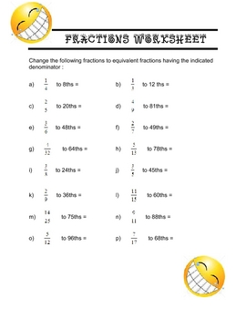 Fractions MATH - fractions and KEY