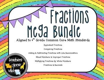 Fractions MEGA Bundle - 4th Grade Common Core Aligned